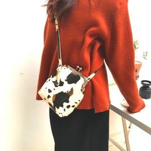 ON ORDER Cow Print Handbag Cross-Body Snap Close